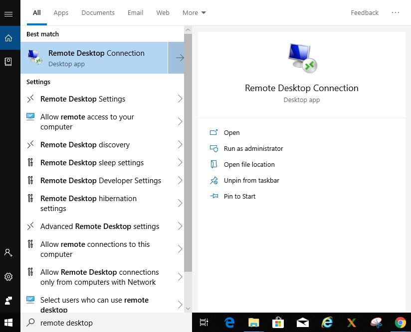remote desktop search